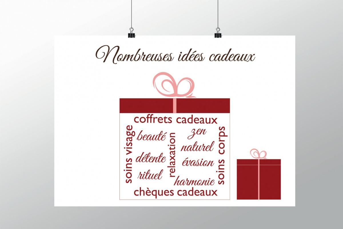 """Affiche pour décoration de Noël pour institut de beauté ou spa """"idées cadeaux"""""""