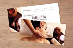 Création de chèques cadeaux personnalisés modèle Femme Spa